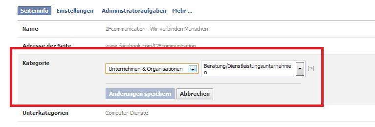Impressum Facebook Kategorie ändern