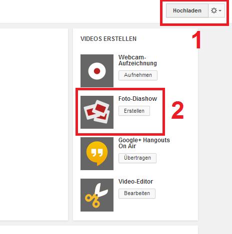 Bildershow mit YouTube erstellen