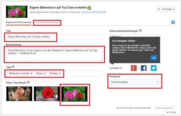 Bildershow auf Youtube erstellen