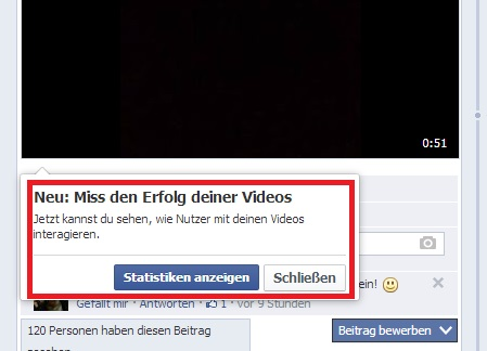 Hinweis auf neue Statistiken für Videos auf Facebook