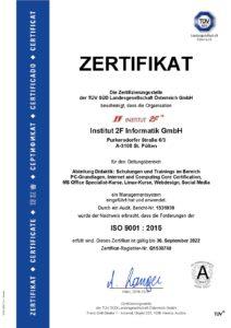 Abb.: ISO-Zertifikat 9001:2015