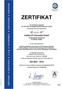 Bild: ISO 9001:2015 Zertifikat TÜV