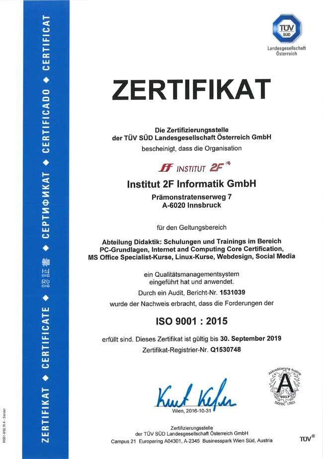 Bild: TÜV-Zertifikat ISO 9001:2015