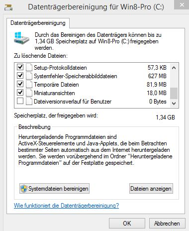 Upgrade Windows 10 Vorbereitung - Datenträgerbereinigung