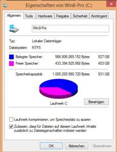 Upgrade Windows 10 - Eiganschaften eines Laufwerks