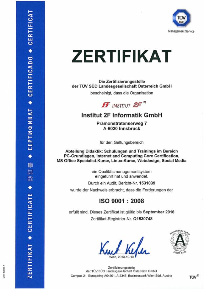 TUEV-Zertifizierung nach ISO 9001:2008