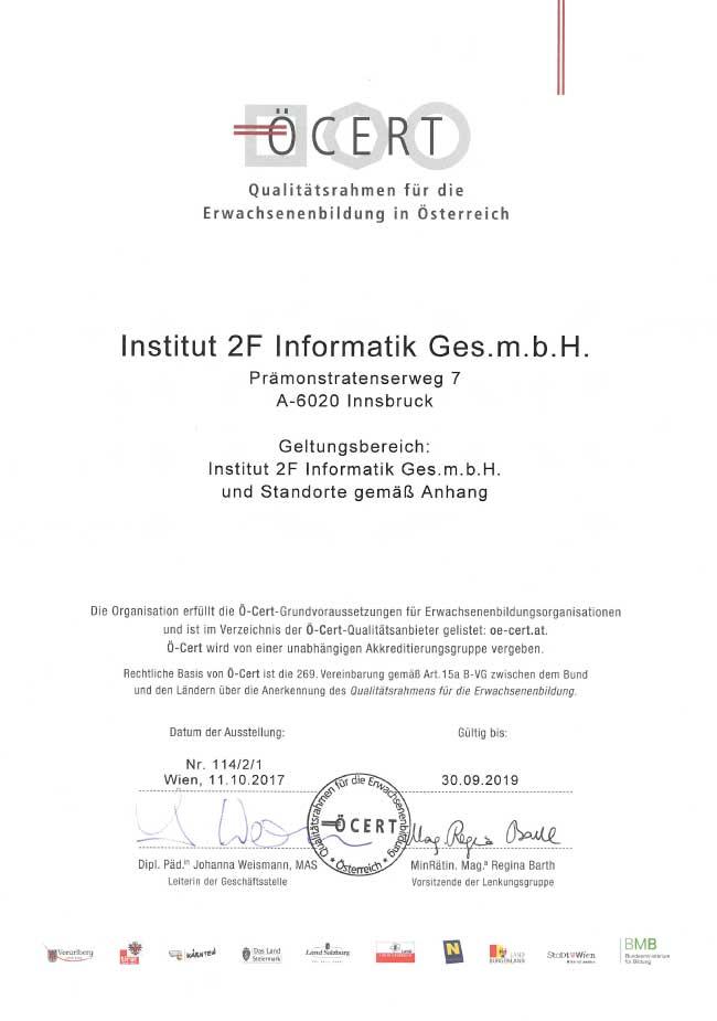 Abbild: Ö-Cert Zertikat Gültigkeit bis 09/2019