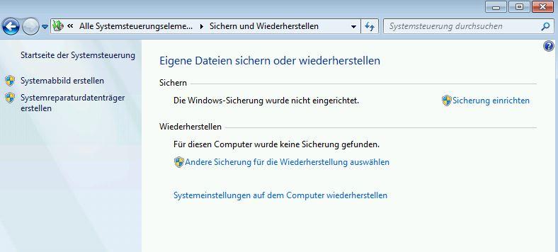 Windows 7 Sicherung einrichten